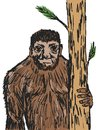 Bigfoot hand drawn sketch cartoon illustration of Stock Photo
