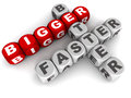 Bigger better faster words in a crossword concept of power and betterment Royalty Free Stock Photography