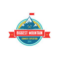 Biggest mountain summer expedition vector badge for creative design projects adventure label Stock Photos