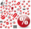 Biggest Set of red price tags in vector design Royalty Free Stock Images