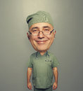 Bighead glad doctor in glasses Royalty Free Stock Photo
