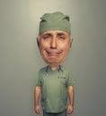 Bighead sad doctor over dark Royalty Free Stock Photo