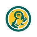 Bighorn Ram Sheep Head Circle