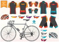 Bike or bicycle clothing and equipment bike helmet clothing sun glass illustration easy to modify Royalty Free Stock Photo