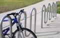 A bike at  bike rack Royalty Free Stock Photo