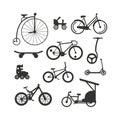 Bike black silhouette mountain, ride, transportation sport race vector. Royalty Free Stock Photo
