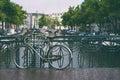 Bike on the bridge in Amsterdam Netherlands Royalty Free Stock Photo