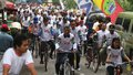 Bike campaign thousand of people riding at health in solo central java indonesia Stock Photo
