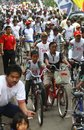 Bike campaign thousand of people riding at health in solo central java indonesia Royalty Free Stock Photography
