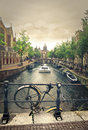 A bike and a canal in Amsterdam