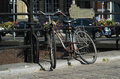 Bike by a canal in gent belgium Stock Images