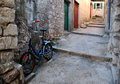 Bike croatia magic narrow streets in the old town Stock Image
