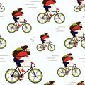 Bike delivery messenger hipster seamless pattern