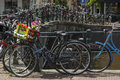 Bike with flower basket on the street near the canal Royalty Free Stock Photo