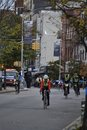 Bike guides nyc marathon along bedford avenue during the new york city on sunday nov Royalty Free Stock Images