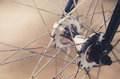 Bike hub and spoke silver bicycle Royalty Free Stock Images