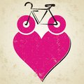 Bike icon i love my with heart on grunge background Royalty Free Stock Photography