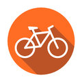 Bike icon on orange round background. Bicycle vector illustratio Royalty Free Stock Photo