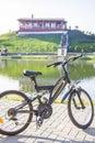 Bike on a lake coast