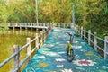 Bike lane beside the canal at Bang Kachao Park Royalty Free Stock Photo
