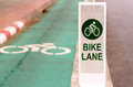 Bike lane road for bicycles in the city sign Stock Photography