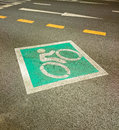 Bike lane road for bicycles empty bicycle lane in city street sign Royalty Free Stock Image