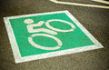 Bike lane road for bicycles empty bicycle lane in city street sign Stock Photo