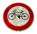 Bike lane sign a grungy cycle with clipping path Stock Images