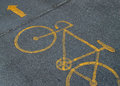 Bike lane sign on road Stock Photo