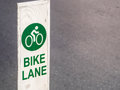Bike lane sign traffic for bicycles in the city with place your text x bicycle x Royalty Free Stock Images