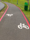 Bike Lane signs on streets ground in Brazil Royalty Free Stock Photo