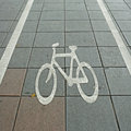 Bike lane symbol road Stock Photography