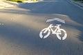 Bike lane a symbol on the street in a suburban neighborhood Royalty Free Stock Photography