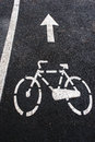 Bike lane traffic markings on the trail Stock Image