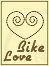Bike love vector illustration of a heart shape created from chain and faded wheel on background Royalty Free Stock Images