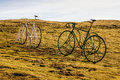 Bike on the meadow france at gourette in the pyrenees europa Stock Photos