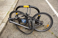 Bike with missing bits in london handlebars and the seat Stock Photo