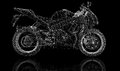 Bike motorcycle d model body structure wire Stock Image