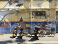 Bike parking with graffitti wall in Yaffo, Israel Royalty Free Stock Photo