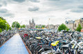 Bike parkinggagare near the central station in amsterdam because there are not enough parking places for bicycles a bicycle Royalty Free Stock Image