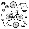 Bike parts. Bicycle equipment and components isolated vector set Royalty Free Stock Photo