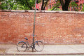Bike path a chained to a post in downtown manhattan Stock Photography