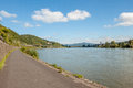 Bike path in Germany along the Rhine Royalty Free Stock Photo