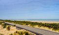 Bike path next to the beach taken in zeeland netherlands Royalty Free Stock Photography