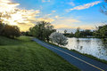 Bike Path Beside River Royalty Free Stock Photo