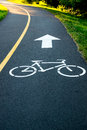 Bike path sign on the asphalt Royalty Free Stock Photo