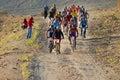 Bike race start in desert Royalty Free Stock Photo