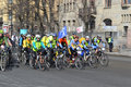 Bike race on street of st petersburg russia april Stock Image