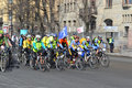 Bike race on street of st petersburg russia april Royalty Free Stock Images