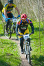 Bike racers galati romania april unknown on the competition of the mountain xc garboavele on april in galati romania Royalty Free Stock Photography